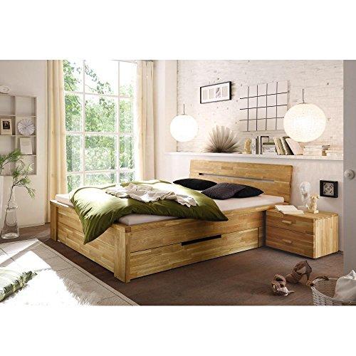 Massivholzbett Cassetta 180x200cm Wildeiche massiv Holz Eiche Massivholz 180 x 200