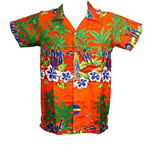 Camisa-hawaiana-para-hombre-diseo-de-sol-para-la-playa-fiestas-verano-y-vacaciones-2XL-naranja