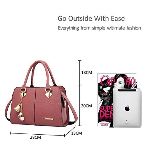NICOLE&DORIS Damen Handtaschen Einfach Umhängetasche Schultertaschen Henkeltaschen Crossbody Tote Wasserdicht PU Rosa Rosa