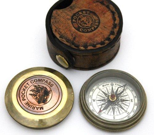casanova nauticals Gedicht compass-pocket Kompass w Leder Fall–Pocket Größe