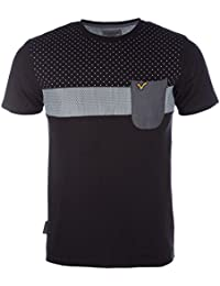 VOI Mens Jeans Lennox T-Shirt In Grey MARL-Ribbed Collar-Crew Neck-Tab To