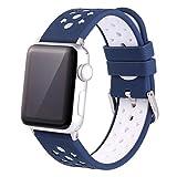 Banda para Apple Watch Series 2/1 42mm Pulsera de Silicona Deportiva Correa de Reloj Reloj de Pulsera Silicona con Hebilla de Acero Inoxidable,Liberación Rápida Mymyguoe