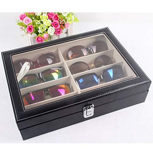 Asdflina Sonnenbrillen Brille Uhren Veranstalter High-End-Gläser Aufbewahrungsbox 8 Grid Sonnenbrille Display Holzkiste Eyewear Aufbewahrungs- und Präsentationsbox (Farbe : B)