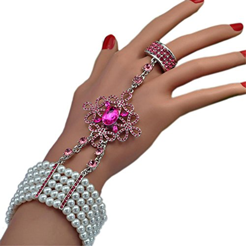 HYHAN Ethnische Braut ein Armband Hand Kette Perlenring , e10001 red diamond - Hand-woven-diamond