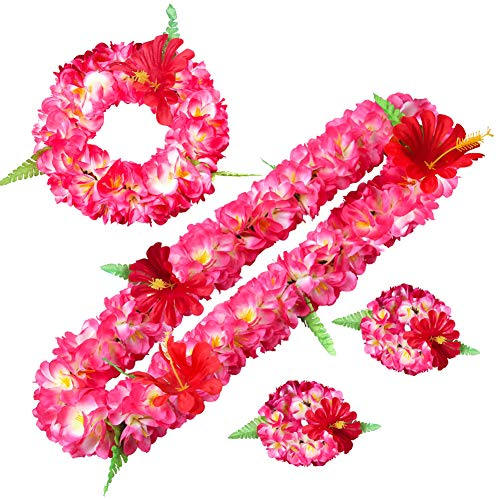 Feoya Girlande künstliche Blumen Set Armband und Halskette Haarband Krone Simulation Blumen Krone Hochzeit Foto Reise Strand Dekoration für Mädchen Damen Geschenk, Couleur 13, one Size
