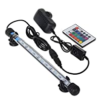 Mingdak® LED Aquarium Light kit For Fish Tank,Underwater Submersible Crystal Glass Lights Suitable for Saltwater and Freshwater,12 RGB SMD 5050 LEDS,Color Changing Flexible Lighting,11-Inch