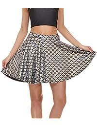 0cea063e8ee Hibote Women s Basic Skirt Casual Mini Skirt Stretchy Fish Scales Mermaid  Skirt