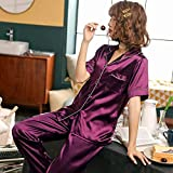 Handaxian Kurzärmelige Seidenpyjamas Sommerpyjamas für Damen Set Seidenpyjamas Pyjamas groß 1 M