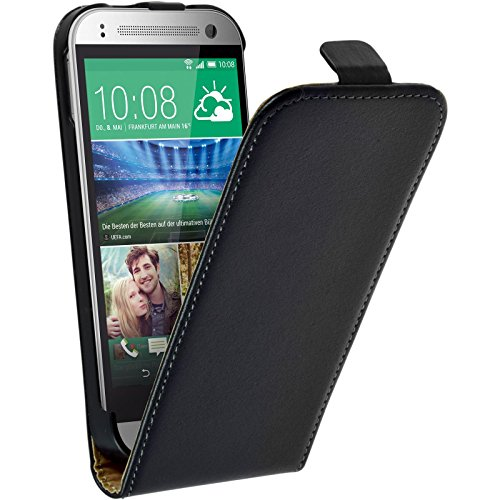 PhoneNatic Kunst-Lederhülle kompatibel mit HTC One Mini 2 - Flip-Case schwarz + 2 Schutzfolien (Htc One Mini 2 Case)