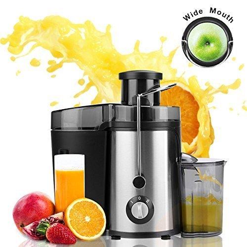 Meykey Licuadora para fruta,Gran Licuadora con contenedor de jugo,Boca Ancha de 65mm,2 Velocidades,Acero Inox,350W,libre de BPA,Negro