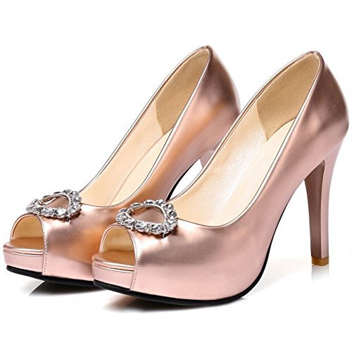 COOLCEPT Damen Elegant Stiletto Sommer Pumps Slip On Peep Toe Sandalen Schuhe Champagner