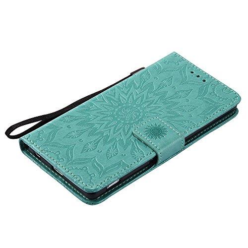 Für Sony Z4 Fall, Prägen Sonnenblume Magnetische Muster Premium Soft PU Leder Brieftasche Stand Case Cover mit Lanyard & Halter & Card Slots ( Color : Blue ) Green
