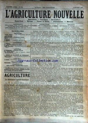 AGRICULTURE NOUVELLE (L') [No 564] du 08/02/1902 - AGRICULTURE PAR CORNET - BERTHOT - DEVILLE - VIMEUX ET GUENAUX - HORTICULTURE PAR MAGNIEN - MOTTET ET MARCHAND - VITICULTURE PAR BATTANCHON ET DESMOULINS - LES ROULEAUX PAR TROUDE - LES BOUCHERIES COOPERATIVES EN DANEMARK PAR VACHER par Collectif