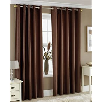 Great CHOCOLATE BROWN FAUX SILK LINED CURTAINS WITH EYELET RING TOP 66 X 72 By  HOMEMAKER BEDDING