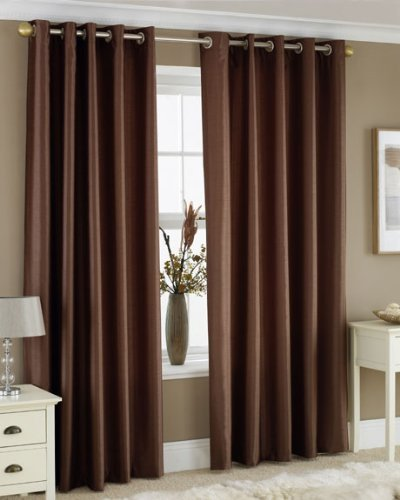 CHOCOLATE BROWN FAUX SILK LINED CURTAINS WITH EYELET RING TOP 66 x 72 by HOMEMAKER BEDDING