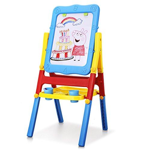 Shinehalo Lavagna Magnetica per Bambini Cavalletto Art Doppia Faccia Bambini 2-in-1 Lavagna Magnetica Pieghevole e Portatile Cancellabile, Area di Disegno di Grandi Dimensioni: 43 x 32 cm, Altezza 103 cm