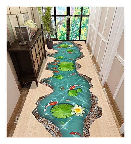 CnCnCn Alfombra De Estanque De Loto Pasillo Cocina Sala Antideslizante Color : A, Size : 100x550cm