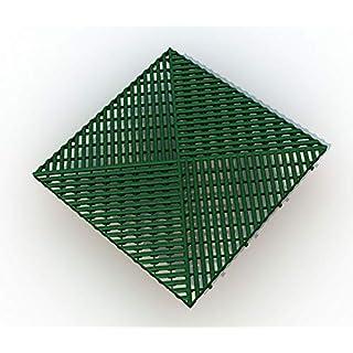 Bodengitter, Balkonfliese, Rasenfliese, Bodenrost, Terrassenfliese, 400 x 400 x 19 mm, aus Kunststoff, ab 12 Stück (96, grün)