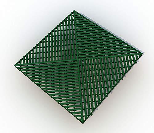 Bodengitter, Balkonfliese, Rasenfliese, Bodenrost, Terrassenfliese, 400 x 400 x 19 mm, aus Kunststoff, ab 12 Stück (24, grün) -