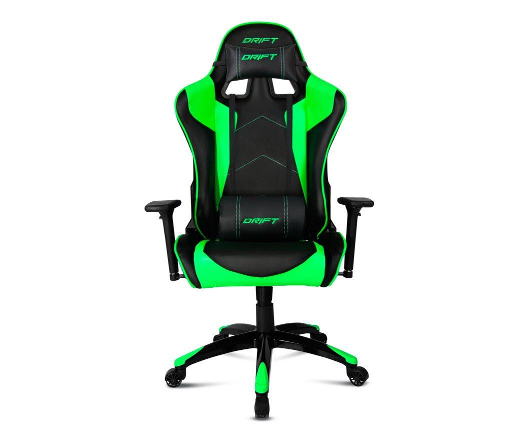 Drift DR300BG – Silla Gaming Profesional, (Polipiel Alta Calidad, Ergonómica), Color Negro/Verde