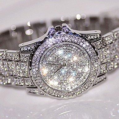 XKC-watches Herrenuhren, Damen Kleideruhr Modeuhr Armbanduhr Einzigartige Kreative Uhr Simultan? Diamant Uhr Chinesisch Quartz/Strass Edelstahl Band Cool Bequem (Farbe : Beere)