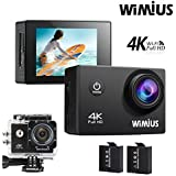 WIMIUS Q1 4K Action Camera Wifi Ultra HD 16MP Waterproof Sports Camera 2.0'' 170Wide Angle Include Waterproof Case,2pcs Batteries And Full Accessories Kits (Black)