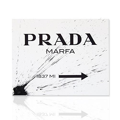 Tableau moderne Prada marfa Gossip Girl éclaboussure noir, 100% toile de coton, cadre en bois - Prêt à accrocher, Divers