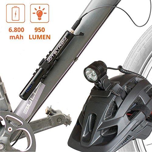 ZNEX POWER + LICHT | Wasserdichte 6800mAh NOTSTRØM XT Power Bank mit Fahrradhalter + 950 Lumen LED Fahrrad Helmlampe | Powerbank liefert Licht für Lampe und Strom für iPhone, Galaxy, GPS uvm.