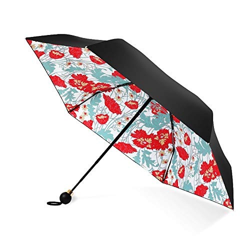 Regenschutz Outdoor Funktionstasche Regenfest Taschenschirm 6 Bones Summer Shading Out Hitzeschutz Hautschutz Sonnenbrand 5 Falten Öffnen und Schließen Blumenmuster Feinwetter-Regenschirm Leichte, hal
