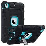 iPad Mini Caso, iPad Mini 2 / Mini 3 Funda Carcasa - ULAK 3 en 1 Híbrido resistente a prueba de golpes Kickstand robusto Defender Cover Case para iPad Mini (1 generación) / iPad Mini 2 con Retina Display (2 generación) / iPad Mini 3 con Touch ID (3 generación) - Azul + negro