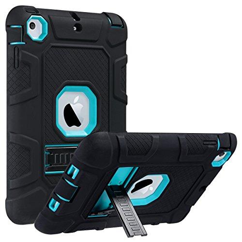 ULAK iPad Mini Hülle - 3in1 Silikon + hartem Polycarbonat Stoßfest Schutzhülle mit Faltbarer Kickstand Tasche Schutzhülle für Apple iPad Mini 1/2/3 (Nicht für Mini 4) - Blau + Schwarz