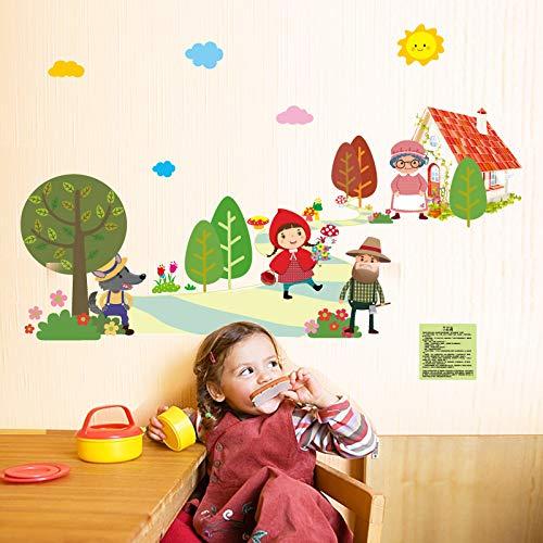 Wandbild ZOZOSO Märchen Rotkäppchen Geschichte Schlafzimmer Kleiderschrank Klassenzimmer Dekoration Selbstklebende Wandaufkleber