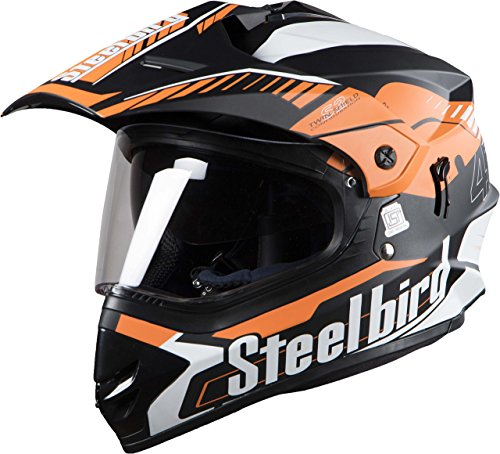 Steelbird Off Road Racing SB-42 Helmet with Plain Visor (Matt Black and Light Orange, L)