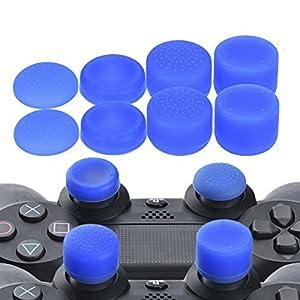 YoRHa Professionelle Aufsätze Daumengriffe Thumb Grips Thumbstick Joystick Cap Cover (blau) Extra Hoch 8 Stück Pack für PS4, Switch PRO, PS3, Xbox 360, Wii U Tablet, PS2 Controller