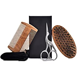Kit de Aseo de Barba para Hombres, Peine de Barba de sándalo, Cepillo de Barba de cerda de jabalí y Tijeras de Pelo, con pequeño Bolso de Regalo Conveniente de Viaje