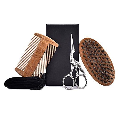 Bartpflege Set für männer,100% Wildschweinborsten Bürste & Sandelholz Bartkamm&Bartschere aus Rostfreiem Stahl,das kleine reise – tüte,perfektes Geschenk für Männer