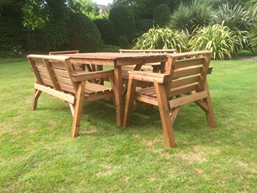 6' Table 2 Benches & 2 Chairs. Solid Wooden Garden Furniture Set. * SUPER STURDY *