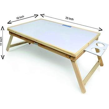 Ekta Product Wooden Folding Laptop Table with Whiteboard Big White