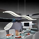 Vi-xixi LED Dimmbar Moderne Pendelleuchte Kronleuchter Deckenleuchten Fernbedienung für Esszimmer Wohnzimmer, Wellenform, 3 Farben Cool White + Neutral White + Warm White