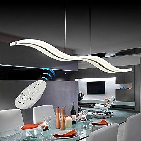 Nouvelle Dimmable moderne pendentif Gabarit Lustre Plafonnier pour salle à manger salon, Fit dans 15–20mètres carrés, forme d'onde, 3couleurs dans une ampoule Cool White + neutre White + chaud White