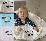heimtexland super weiche Babydecke mit Fell in hellblau pastell mit süßer Stickerei Schaf HxB 70x100 cm Top Qualität - Kuscheldecke fusselt nicht! Typ172