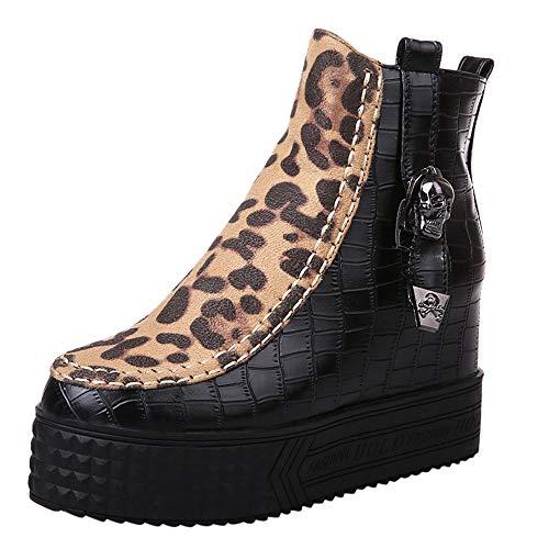 MYMYG Frauen Pumps Kurzschaft Wildleder Stiefel mit Blockabsatz Damen High Heel Martin Boot Leopard Zipper Wedges Schuhe Ankle Boot mit Schnallenriemen Chelsea Boots