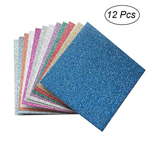 ROSENICE 12 Blätter Origami Papier Faltblätter Glitzer für Origami und Bastelprojekte