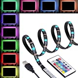 """LED Light Strip TV, Boomile 2 Meters TV Backlight Bias LED Strip Light Kits USB Powered Multi-Color with Remote Control for 40""""-60"""" TV PC Laptop Monitor (4 Pack)"""