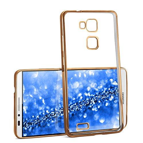 Caso Chrome per Huawei Ascend Mate 7 | Custodia in silicone trasparente con effetto metallico | Thin Sacchetto di protezione cellulare OneFlow | Backcover in Gold - Arancione 7 Piatti Di Plastica