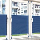 Plissee Rollo Sonnen- und Sichtschutz Klemmfix, ohne Bohren Breite 80 cm Höhe 130 cm in Blau