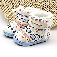 HaiQianXin Winter Cute Bear Infant Baby Soft Plush Lined Prewalkers Snow Boot Toddler Boys Girls Winter Boots First Walkers