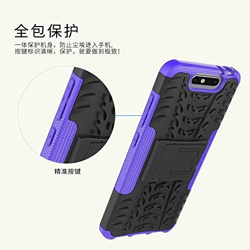 YHUISEN ZTE V8 Case, Hyun Pattern Dual Layer Hybrid Armor Kickstand 2 In 1 Shockproof Case Cover für ZTE Blade V8 ( Color : Black ) Purple