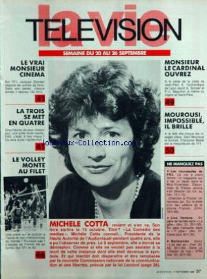 VIE TELEVISION (LA) [No 2142] du 20/09/1986 - le vrai monsieur cinema la trois se met en quatre le volley monte au filet michele cotta monsieur le cardinal ouvrez mourousi impossible il brille ne manquez pas - les nouveautes de fr3 - lino ventura - belmondo