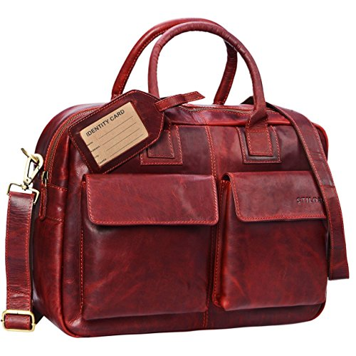 STILORD 'Carlo' Lehrertasche Damen Leder Rot Groß Umhängetasche Ledertasche Aktentasche Schultertasche College Bag Beruf 15,6 Zoll Laptop Büro -